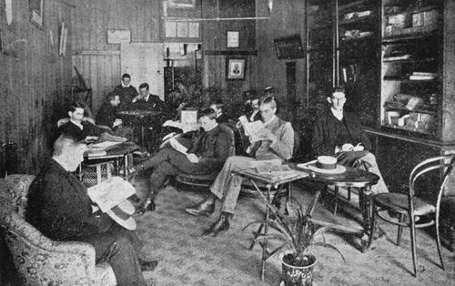 Relaxing in the members' lounge of the Young Men's Christian Association, 1906 (State Library of Queensland)
